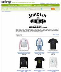 actZEN webpage at CafePress.com